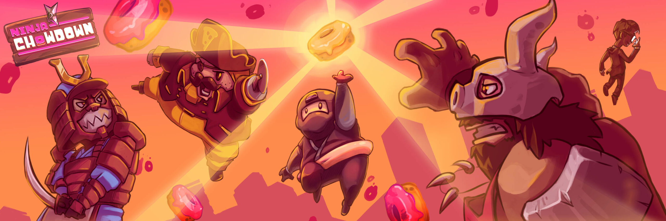 Ninja Chowdown on Android while Donatsu reaching for donut surrounded by bosses